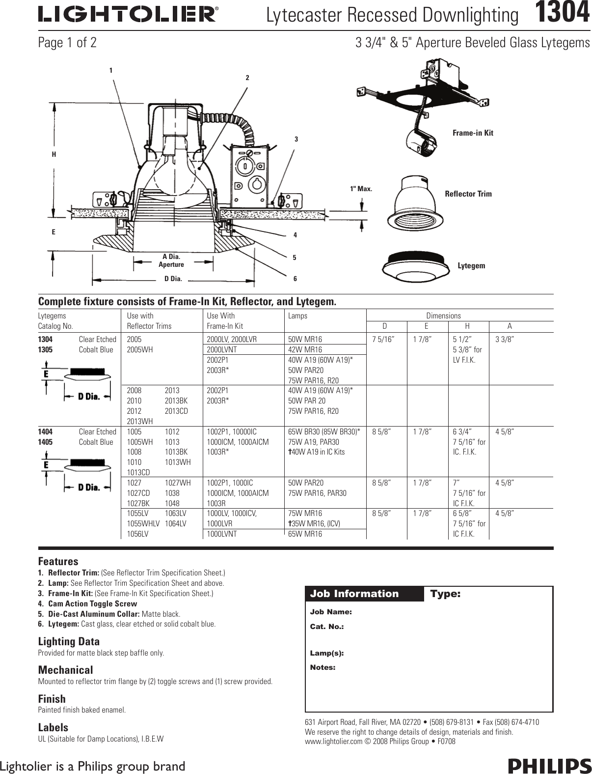 Lightolier Lytecaster Recessed Downlighting 1304 Users Manual