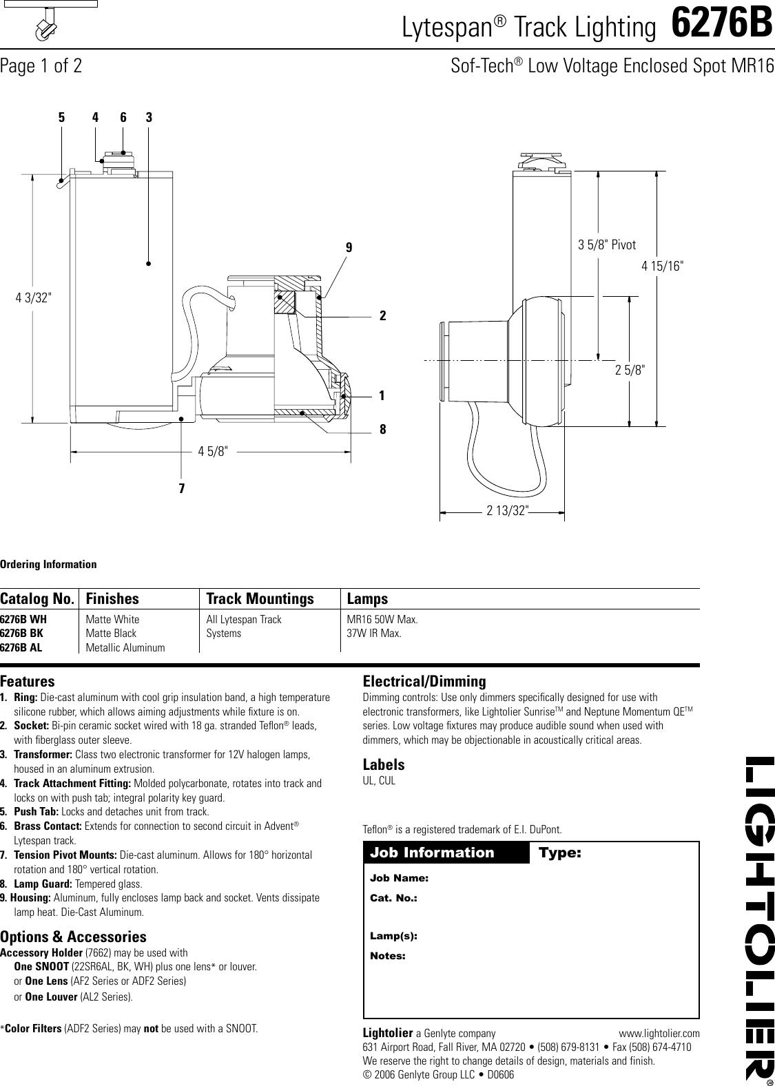 lightolier lytespan track lighting 6276b users manual