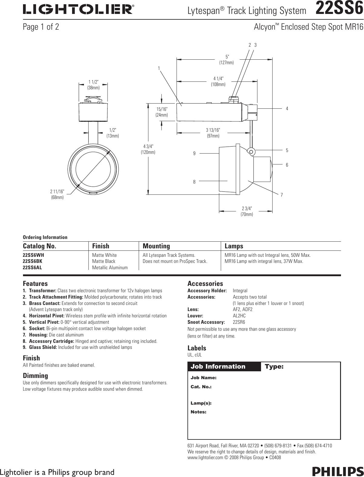 lightolier lytespan track lighting system 22ss6 users manual