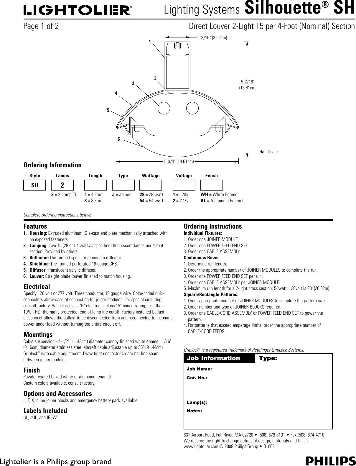 Lightolier Silhouette Sh Users Manual Al1t5 T5 Ballast Wiring Diagram 120 277