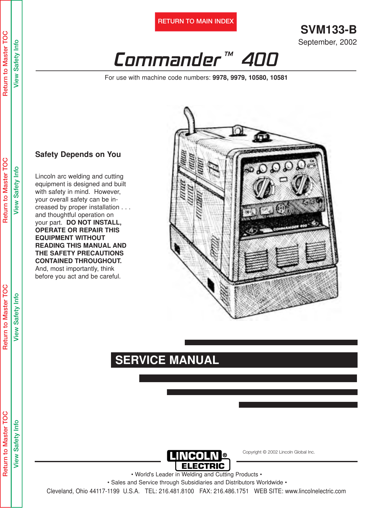 lincoln 400as 50 wiring diagram lincoln electric commander 400 svm133 b users manual svm133b  lincoln electric commander 400 svm133 b