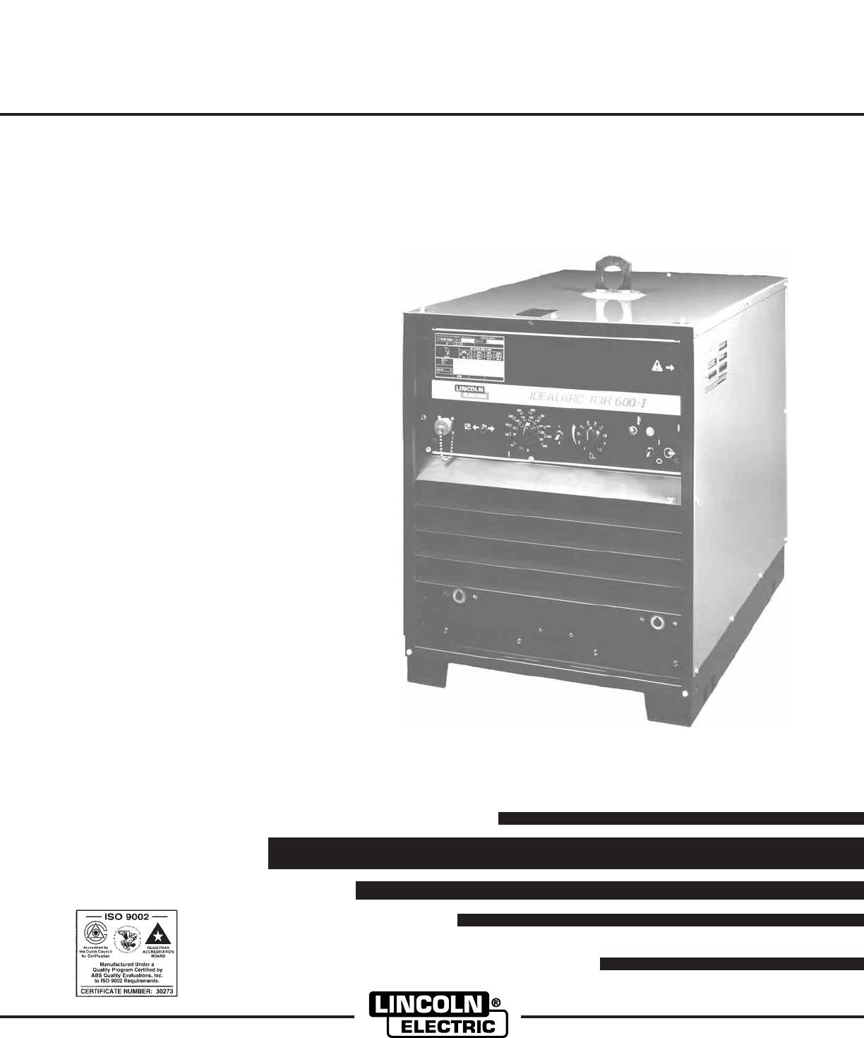 Lincoln Electric Idealarc R3r 600 I Users Manual Im885 250 Wiring Diagram