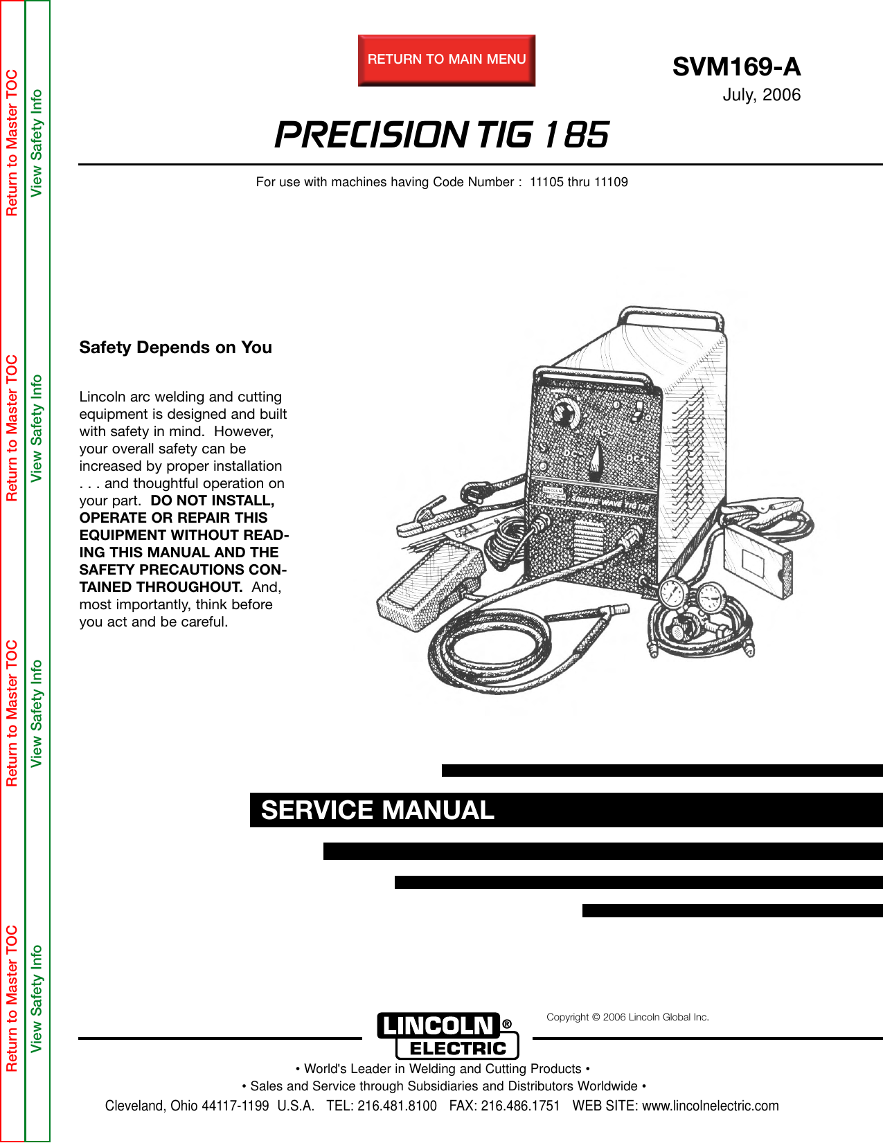 Lincoln Electric Precision Tig 185 Svm169 A Users Manual Triac How To Design Snubber For Optotriac Electrical Engineering