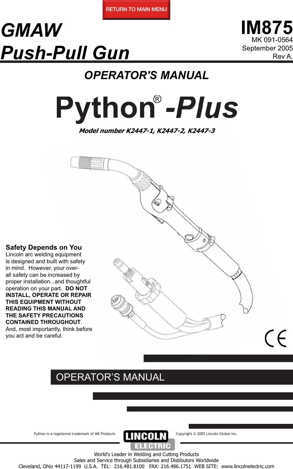 Lincoln Electric Python Plus K2447 1 Users Manual Im875 Mark Iii Wiring Diagram