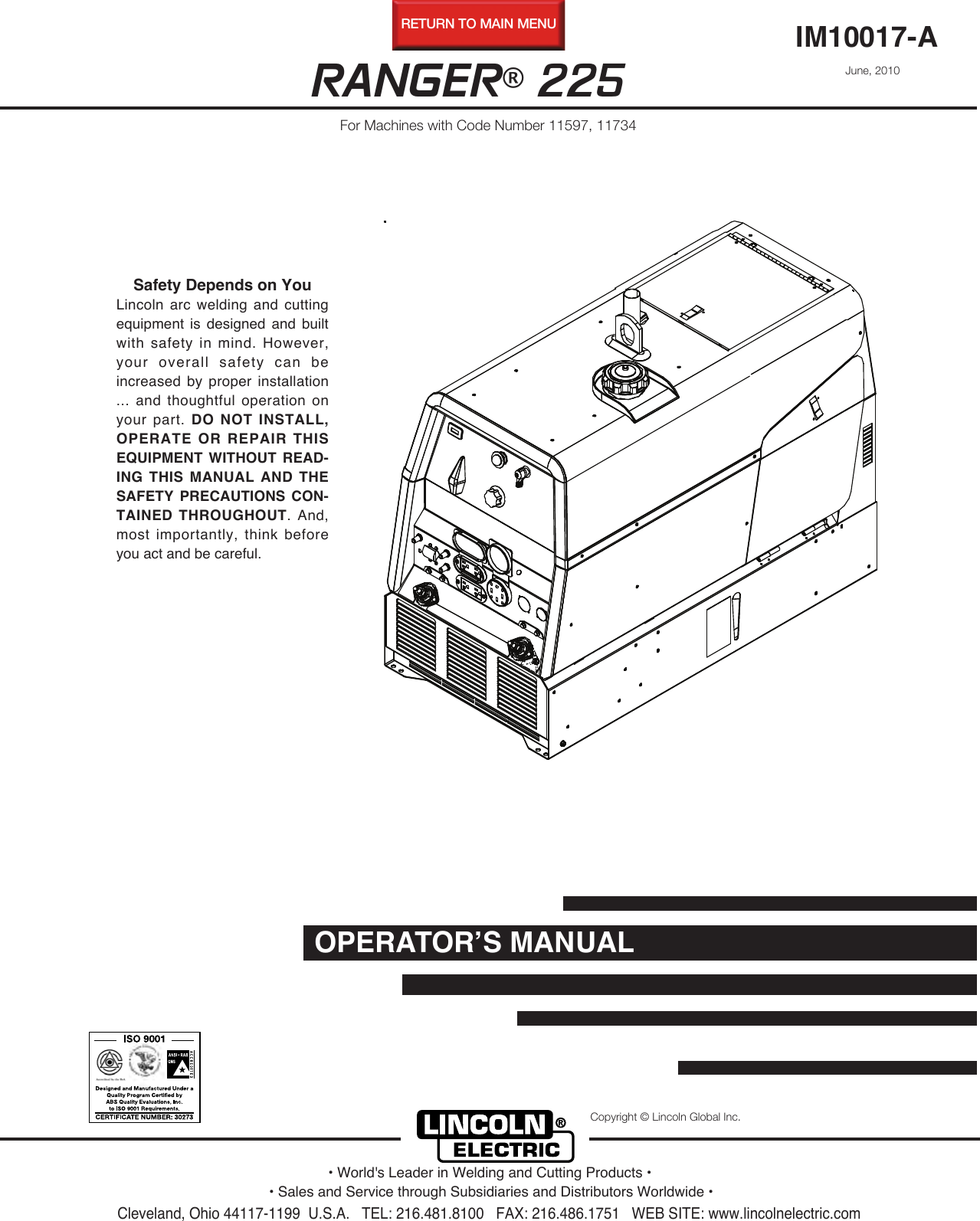 Lincoln Electric Ranger 225 Users Manual Im10017 Ac S Wiring Diagram