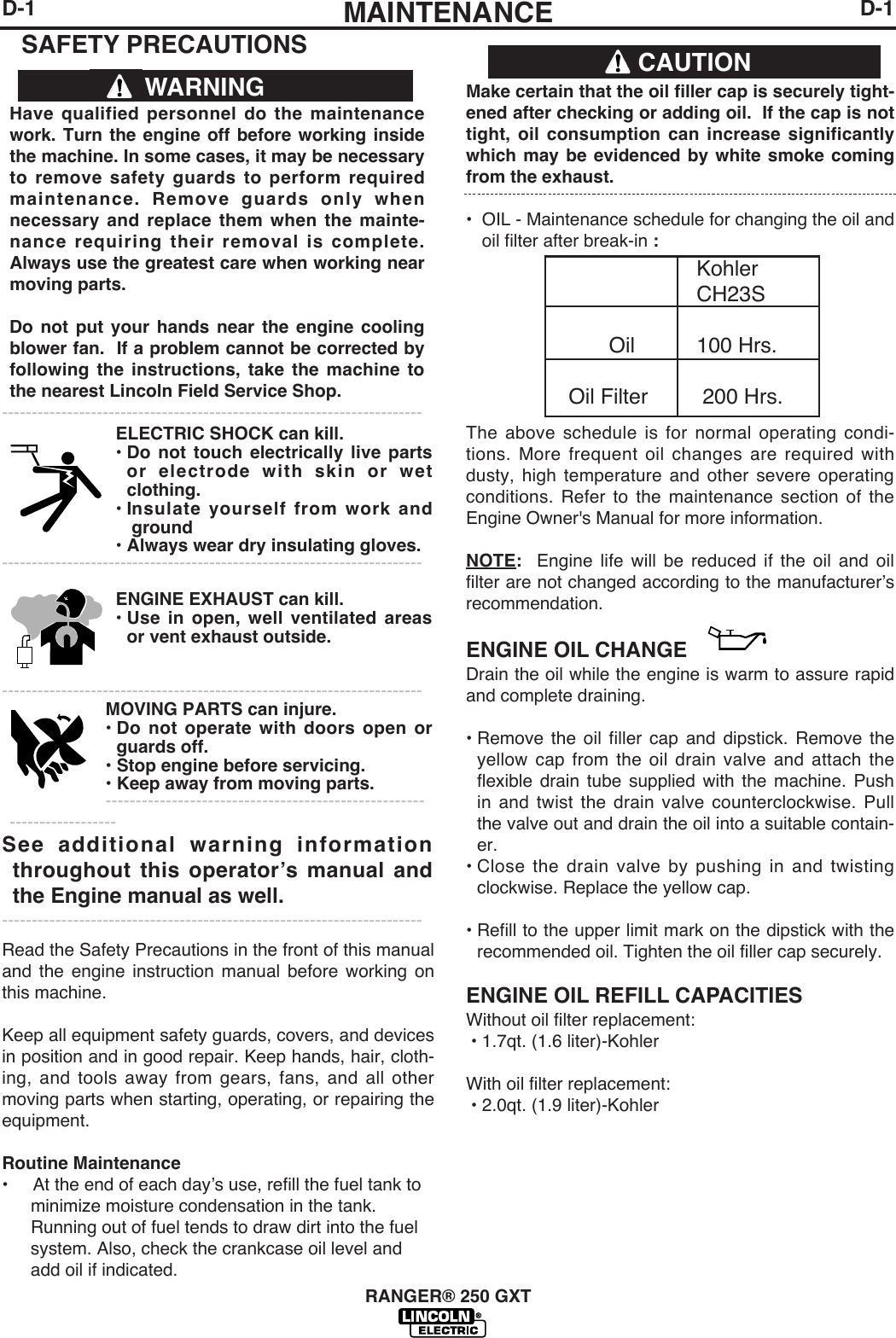 Lincoln Electric Ranger 250 Gxt Users Manual Im921
