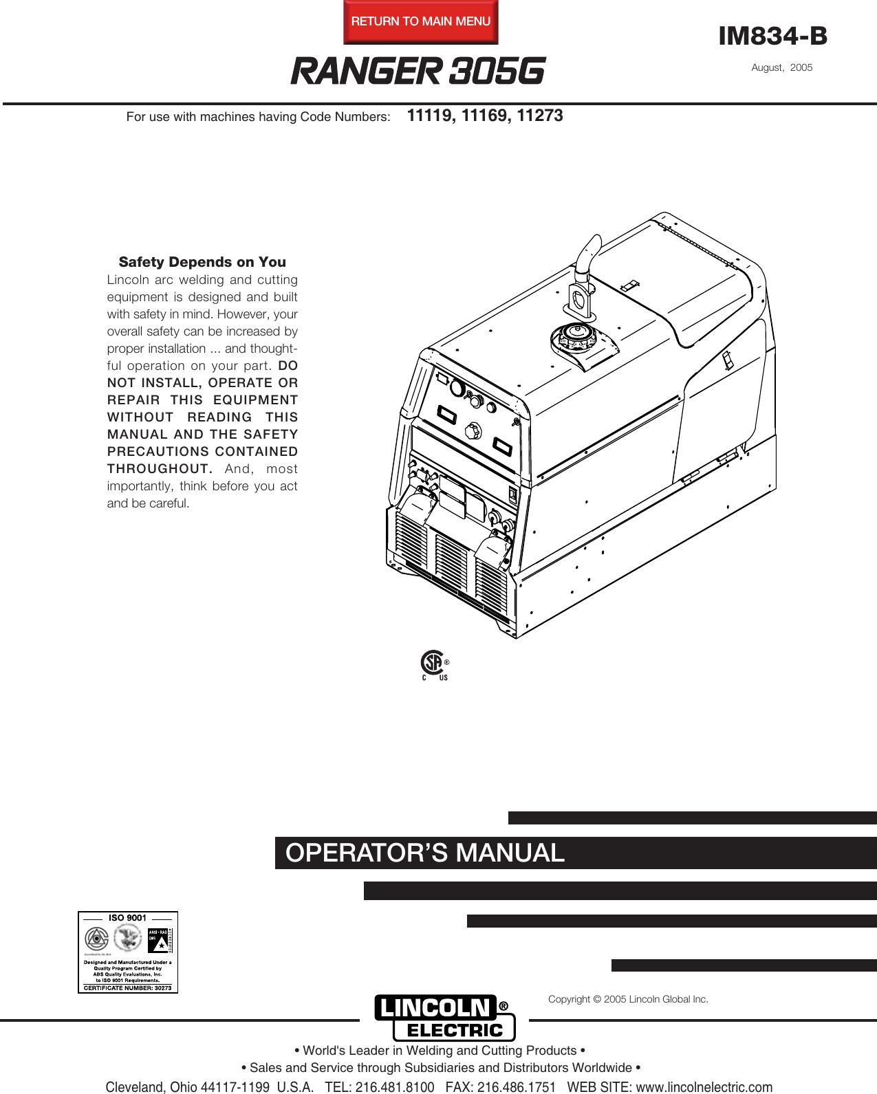Lincoln Electric Ranger Im834 B Users Manual Image 50 Amp Welder Plug Wiring Download