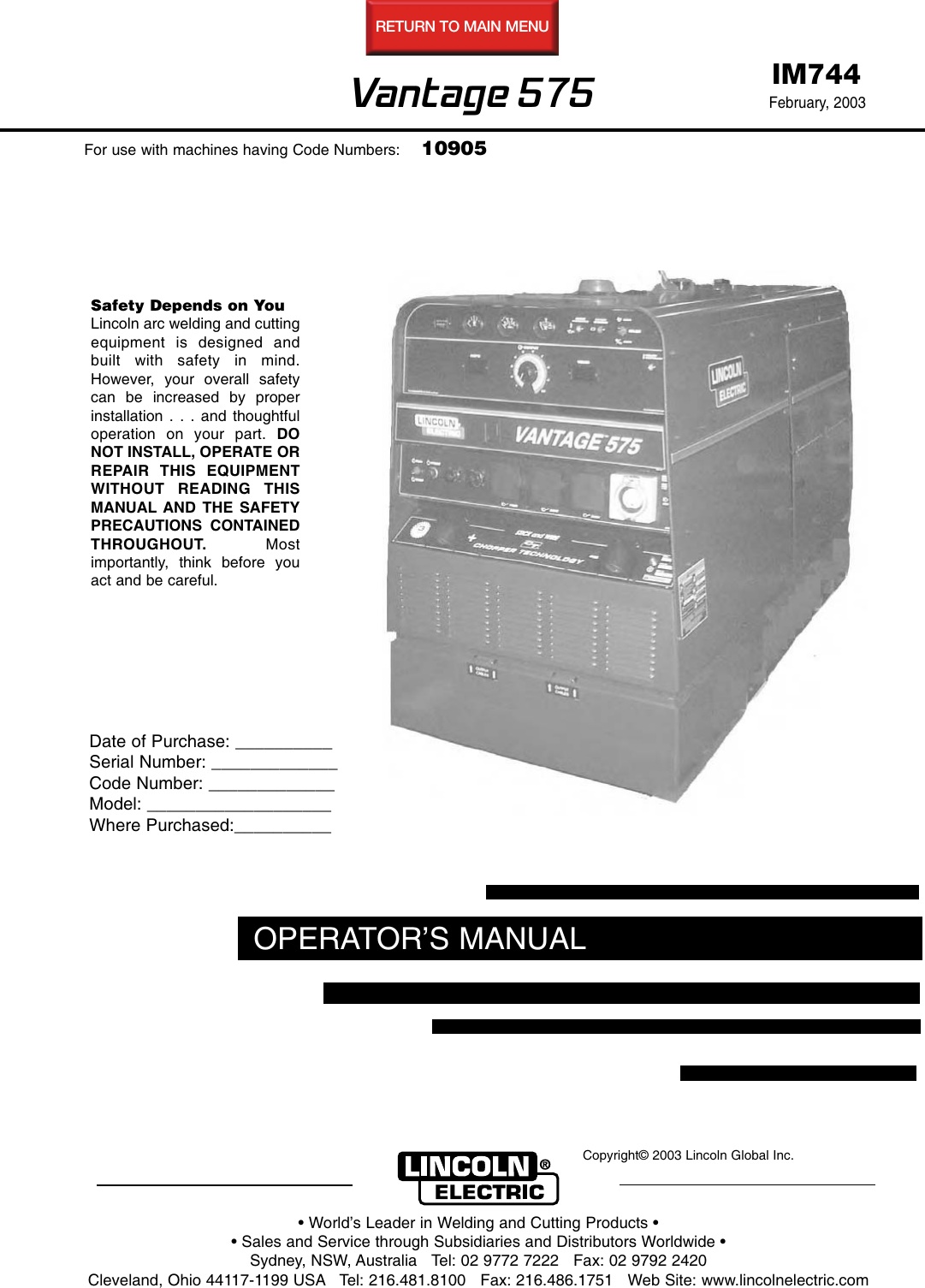 lincoln electric vantage 575 users manual im744  usermanual.wiki