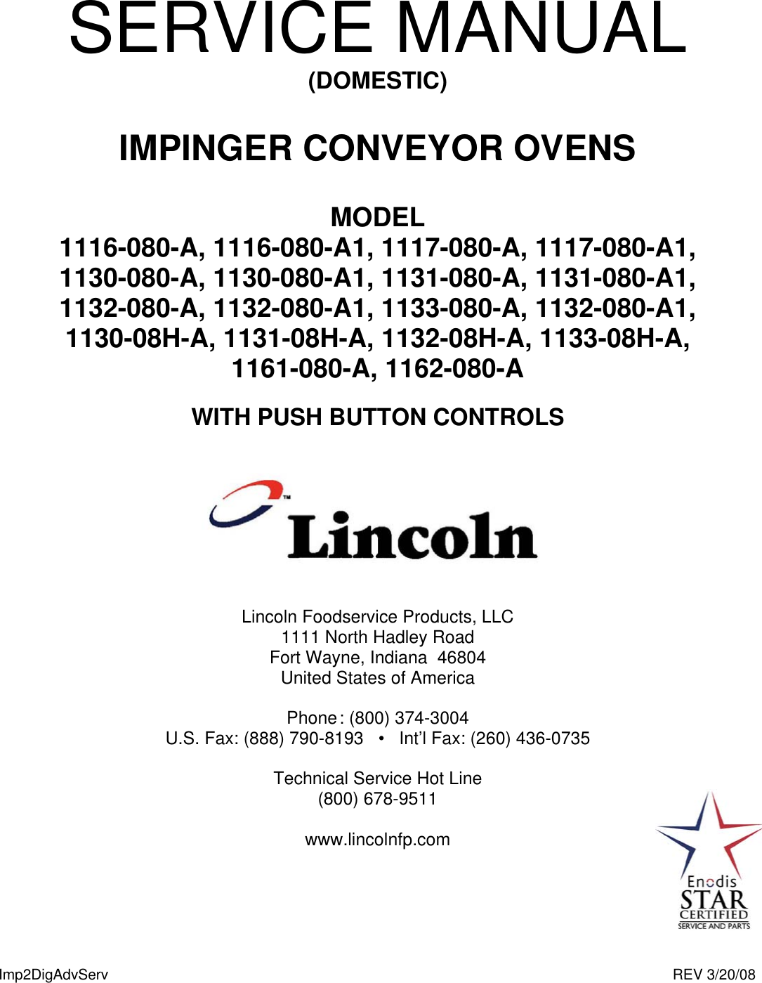 Lincoln 1116 080 A Users Manual Impinger II Advantage Digital Express Service Domestic2