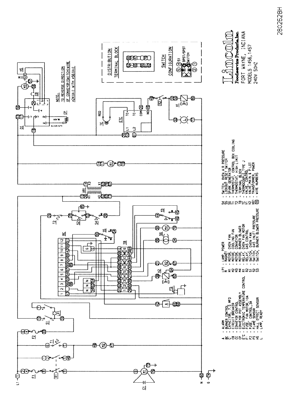 Lincoln 1400 Series Users Manual Impinger I Advantage Service Dom Oven Wiring Diagram Intl 9