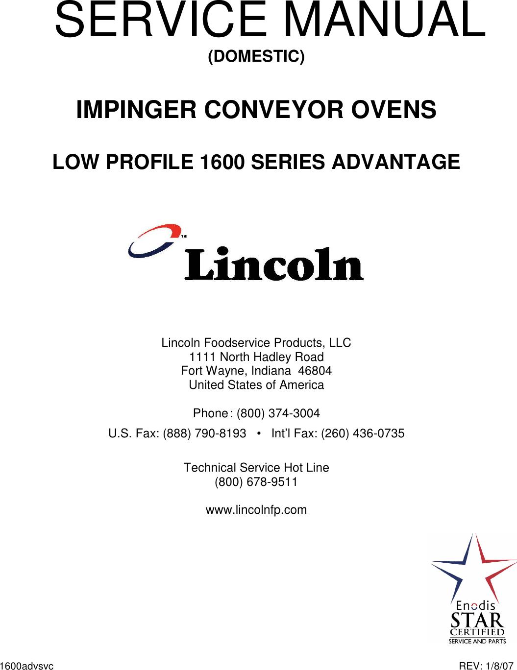 Lincoln Impinger Conveyor Ovens 1600 Users Manual Low Profile 000 A Sa 200 Service Advantage Series Domestic