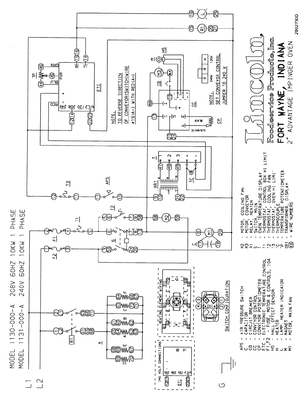 Lincoln Impinger Ii Advantage Series Users Manual Service Domestic2 120 Volt 6 Wire Motor Schematic Domestic