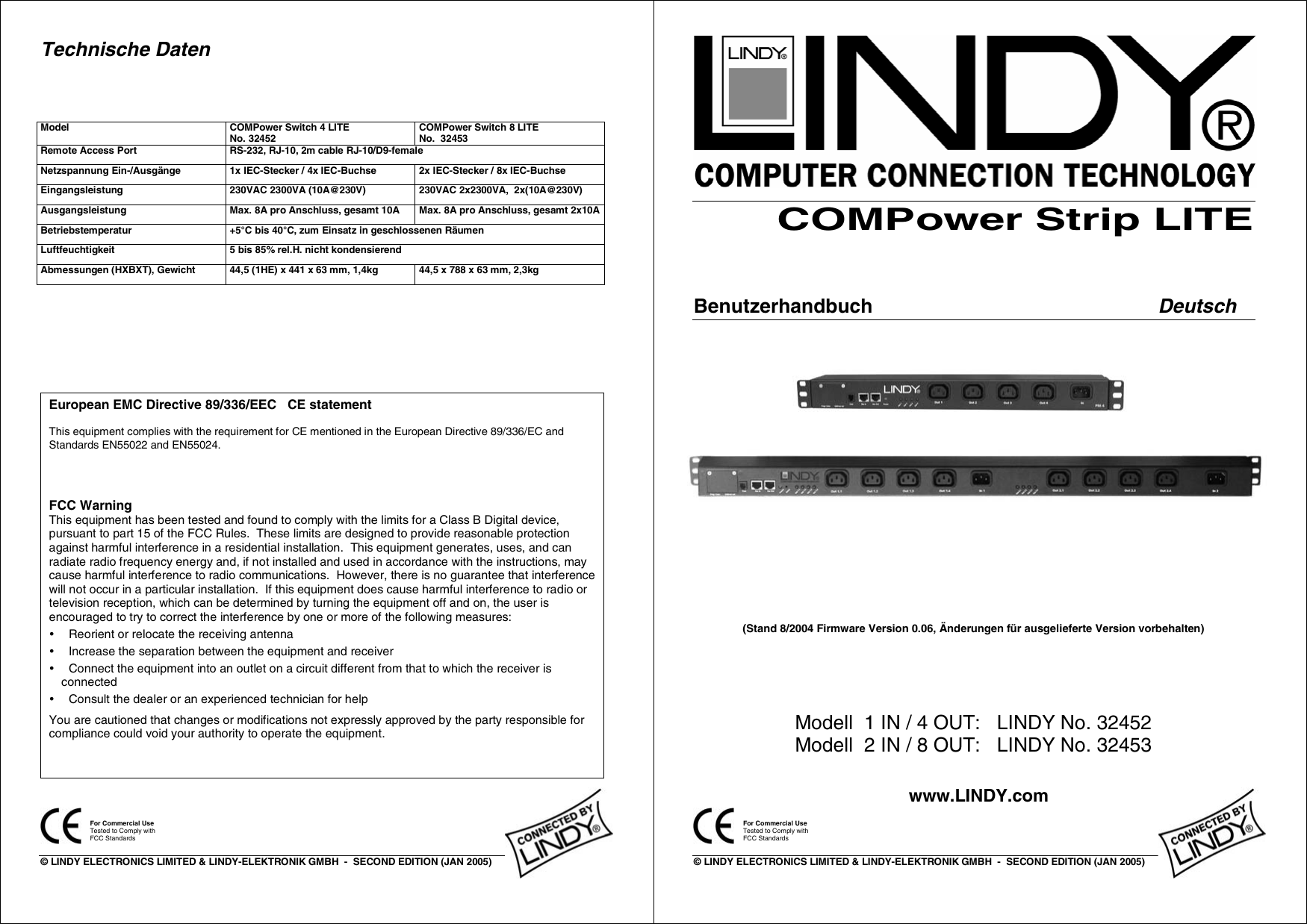 Lindy Compower Strip Lite 32452 Users Manual 32452_3v1GERMAN