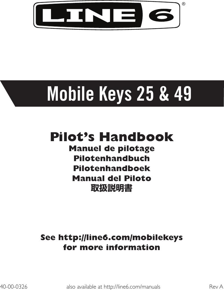 Line 6 Mobile Keys 49 Quick Start Guide 25 & Pilot's