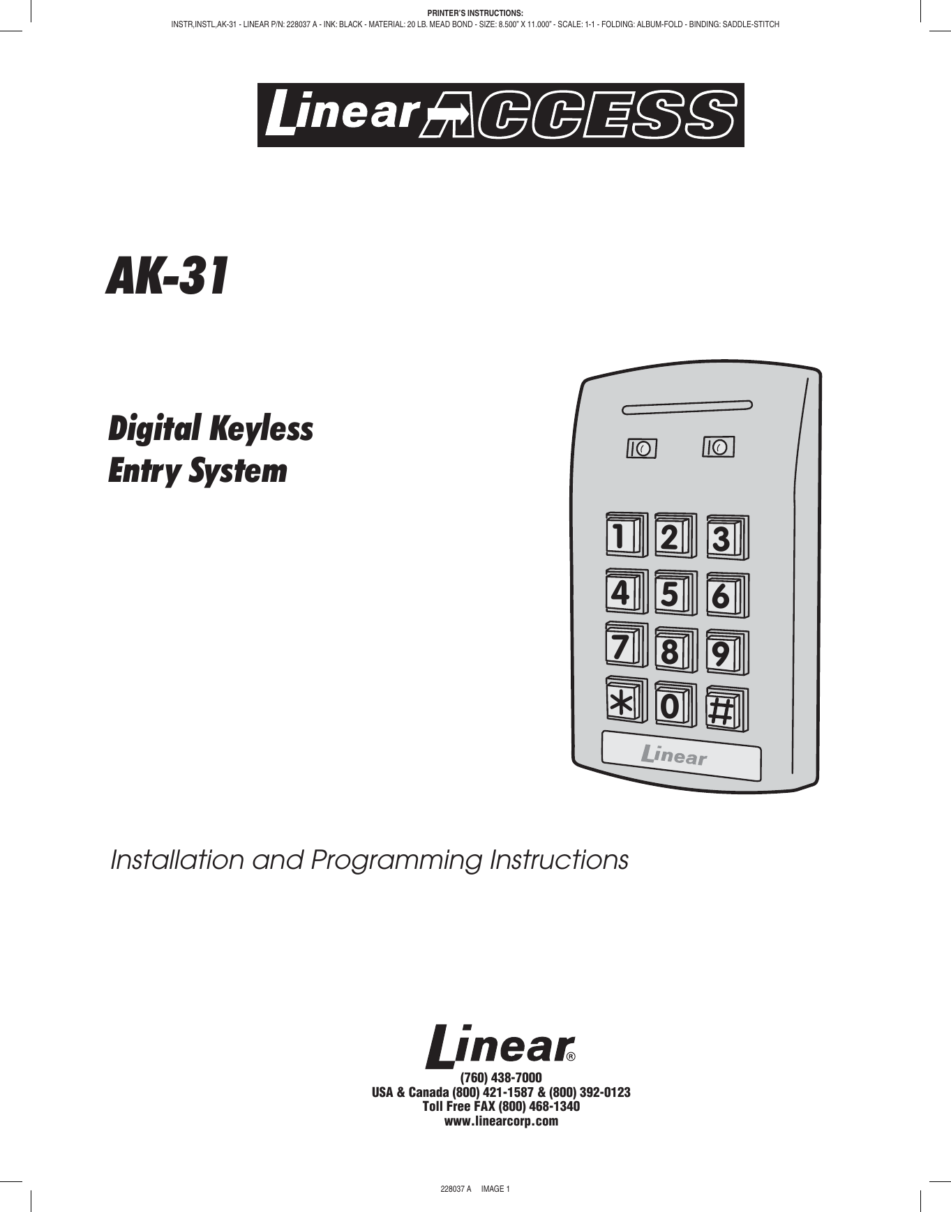 Linear Ak 31 Interior Digital Keypad Quick Start Guide 228037a