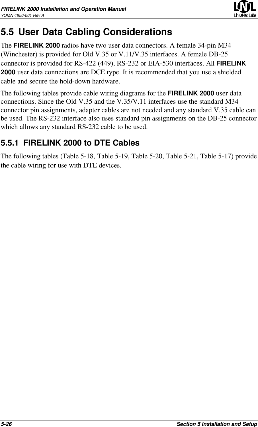 Linkanet Labs Lnl001 User Manual Firelink Rev 4 Standard Rs 232 Cable Schematic 2000 Installation And Operation Manualyomn 4850 001 A5 26 Section 5