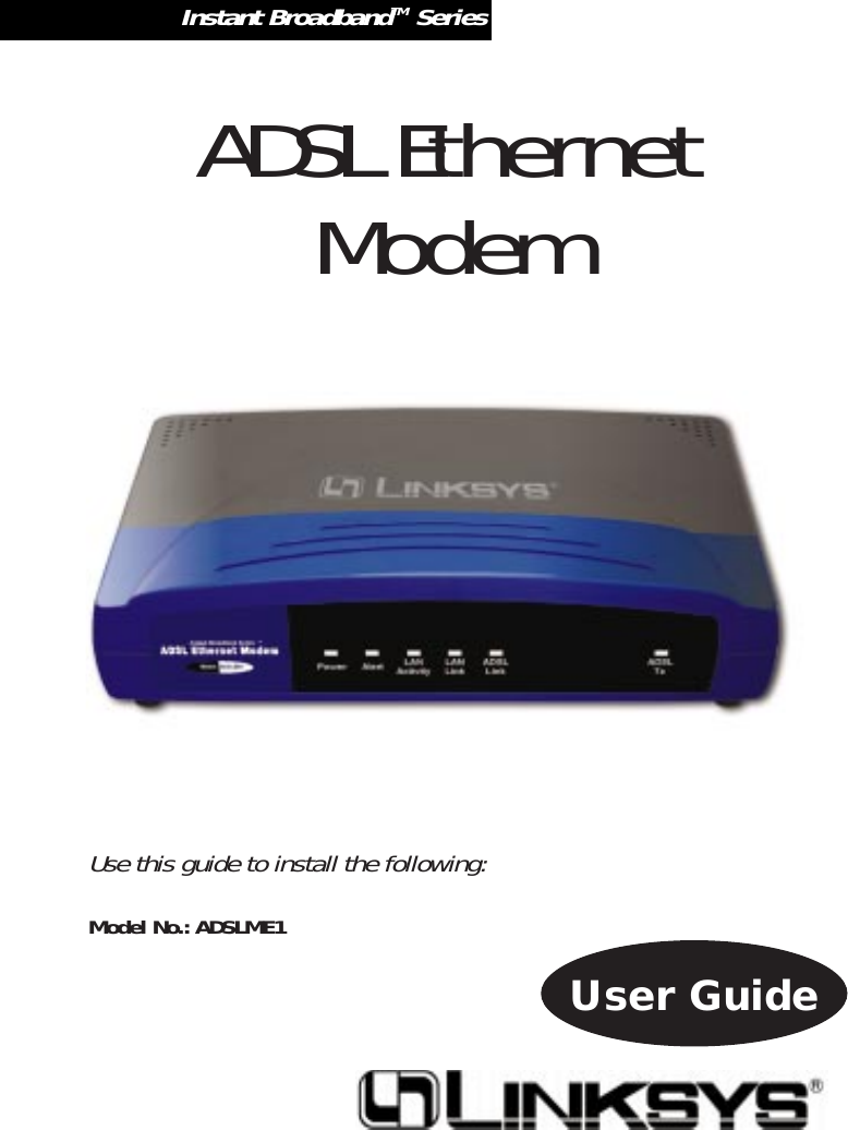 Linksys Adslme1 Users Manual User Guide