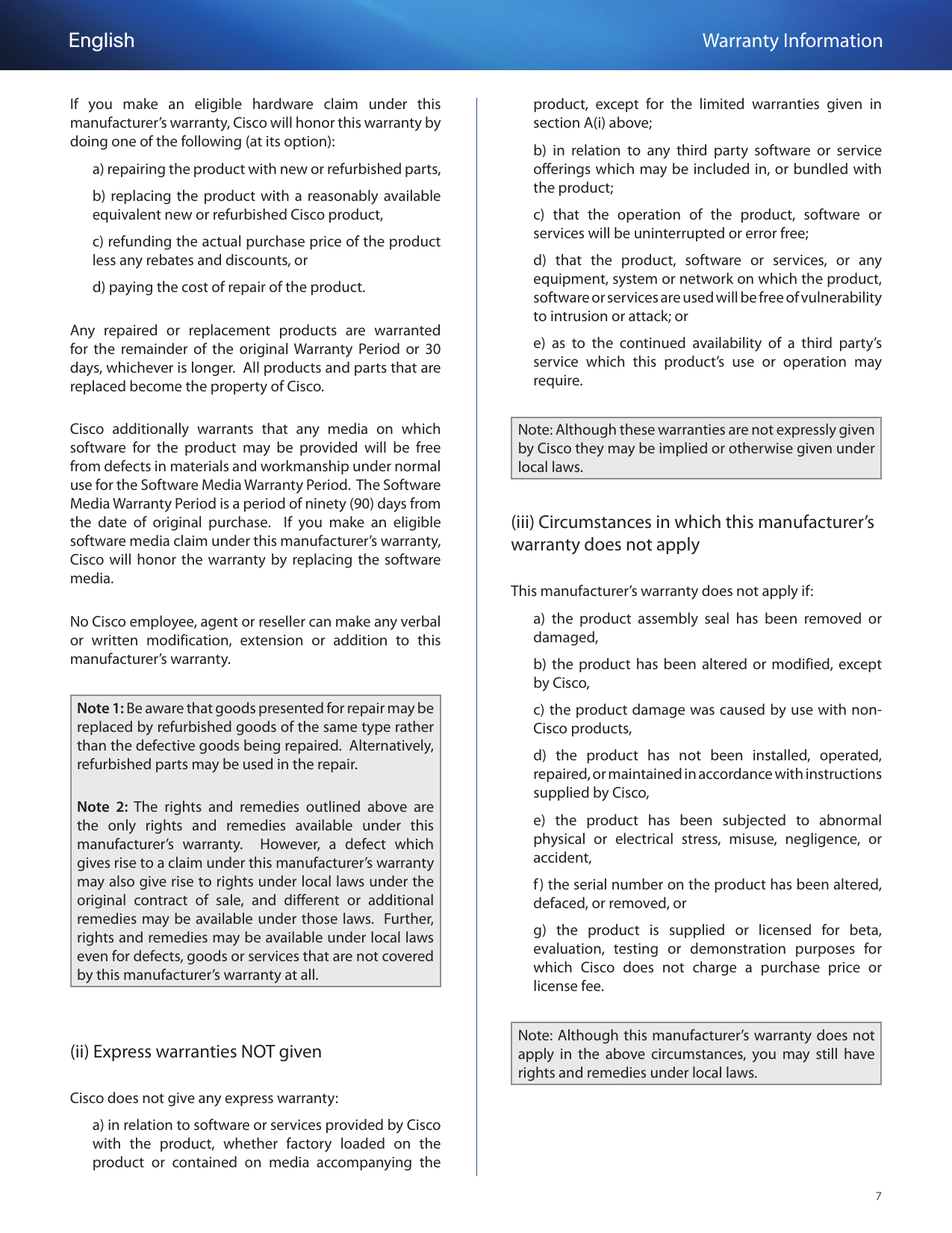 Linksys Se3005 Owner S Manual Warranty Information