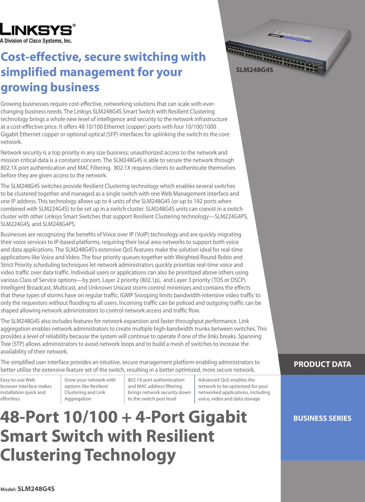 Linksys Slm248G4S Users Manual 48 Port 10/100 + 4 Gigabit