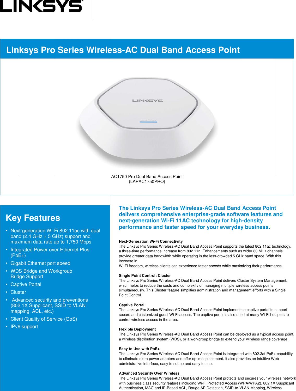 Linksys Wireless Pro Dual Band Access Point Po E DS NAPV