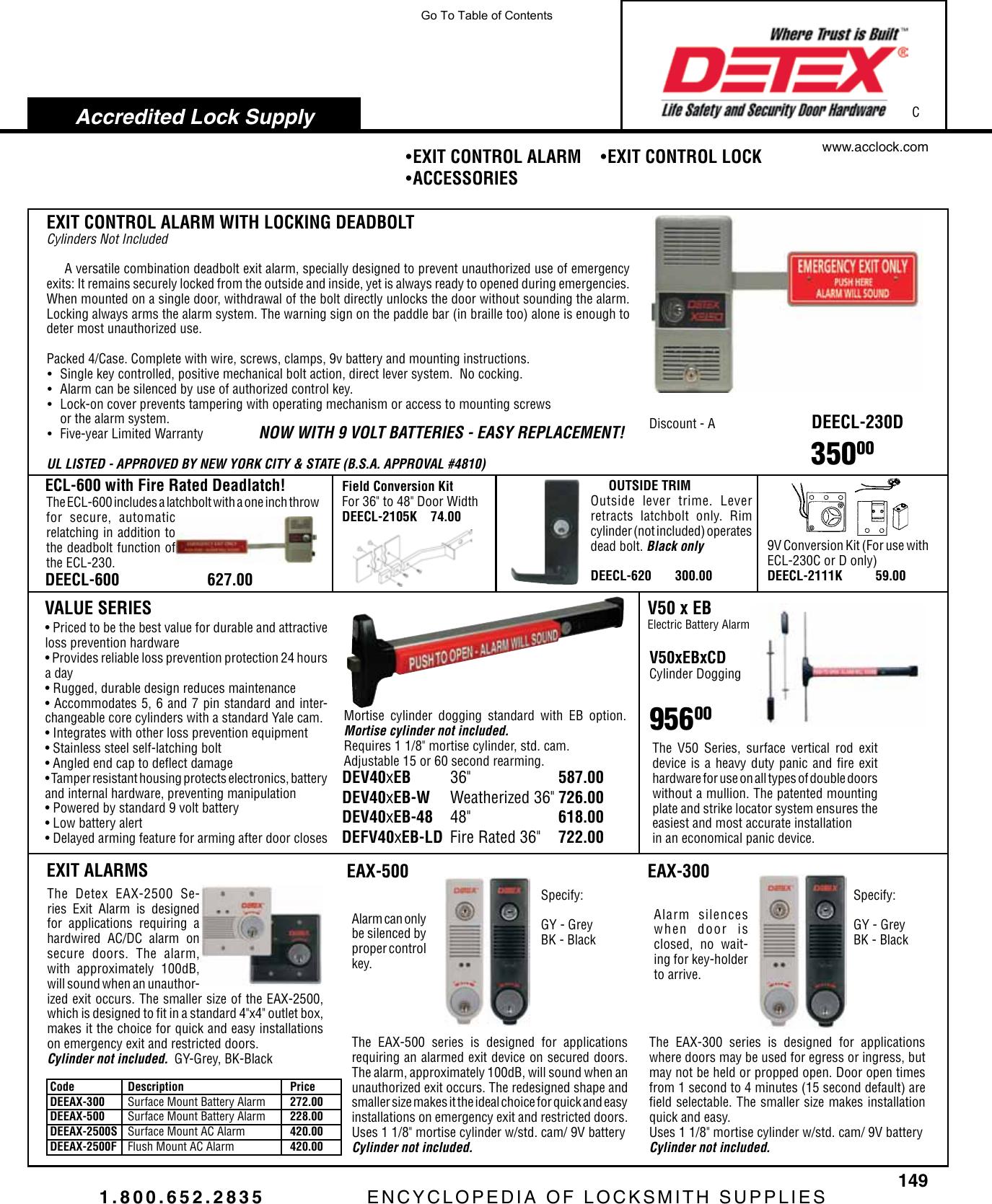 DETEX EAX-300 GRAY W-CYL Exit Door Alarm,9V Battery,UL Listed