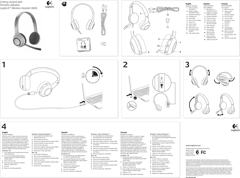 Logitech A00031 Wireless Headset H600 User Manual UserMan