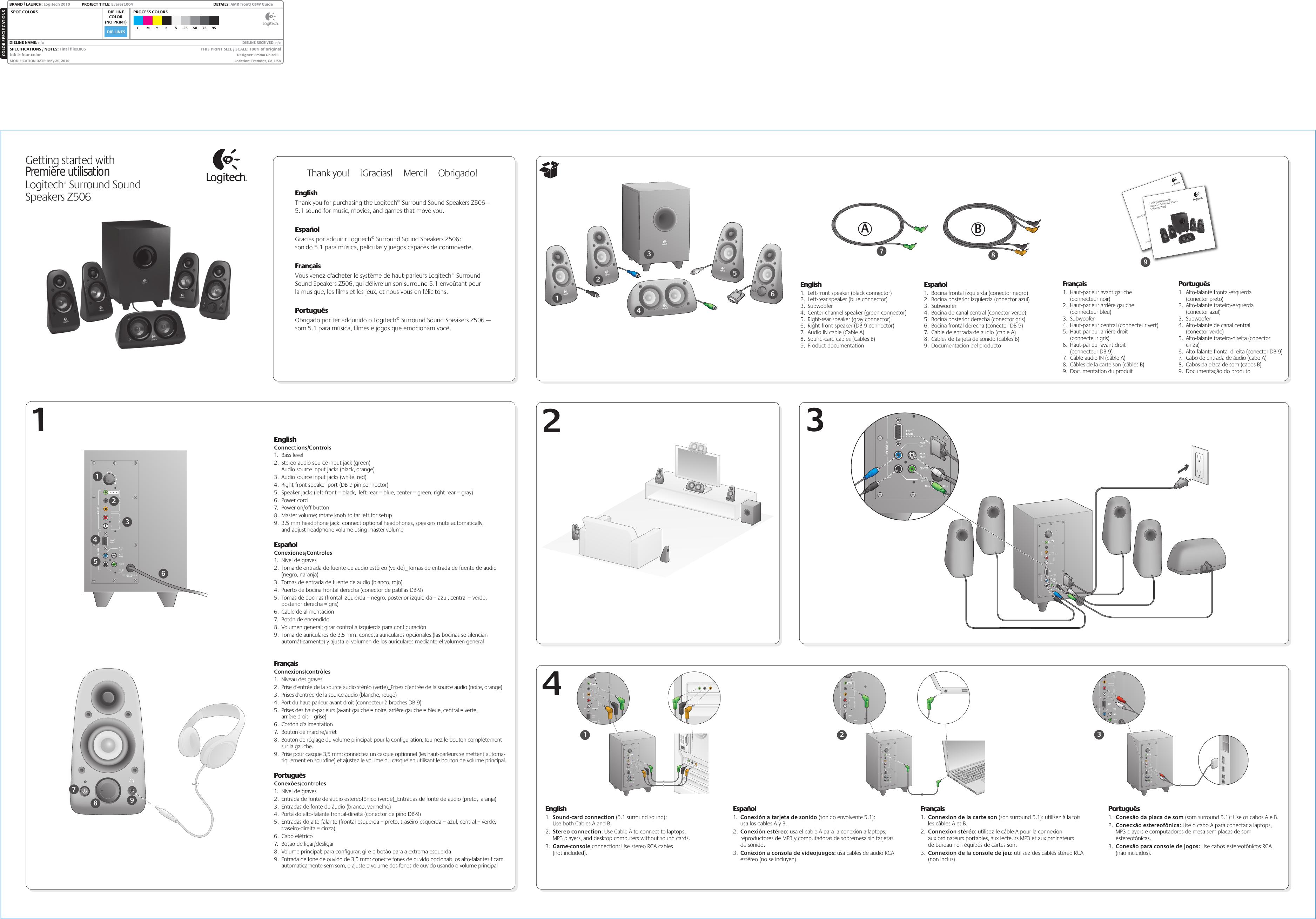 Logitech Z506 Users Manual 620 002649 Everest Front