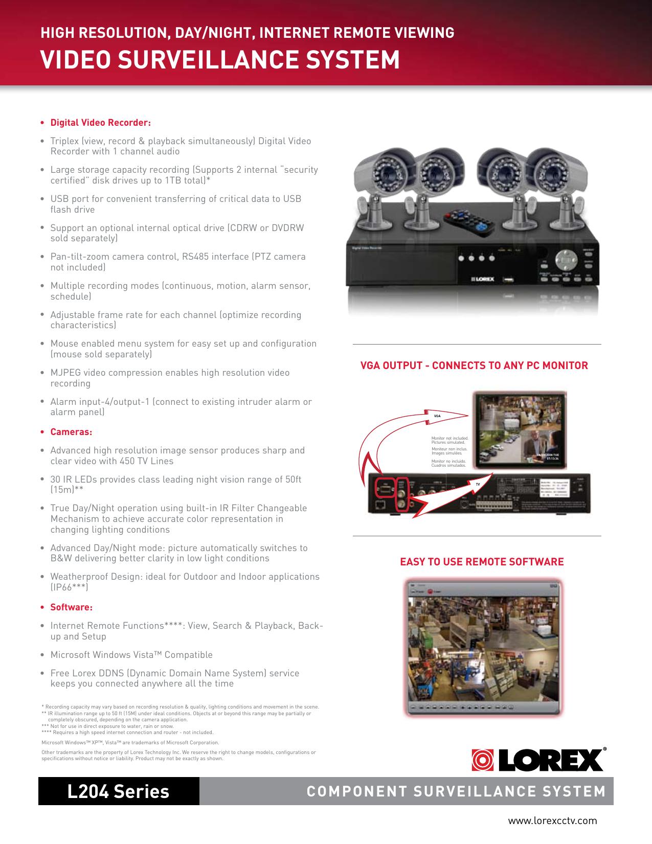Lorex L204251C4F Users Manual L204 Series SPEC SHEET