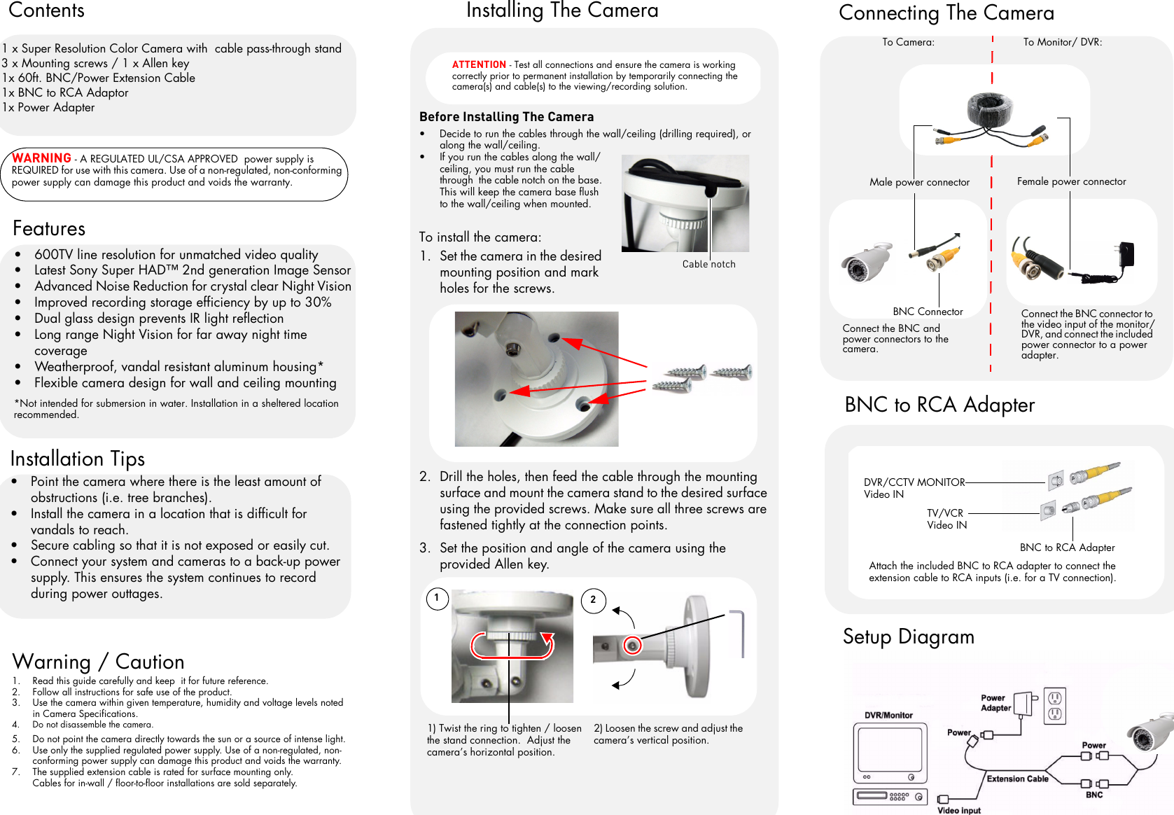Lorex Outdoor Security Cameras With 600 Tvl 4 Pack Quick Start Guide Diagram Along How To Install A Bnc Connector Wiring Page 2 Of