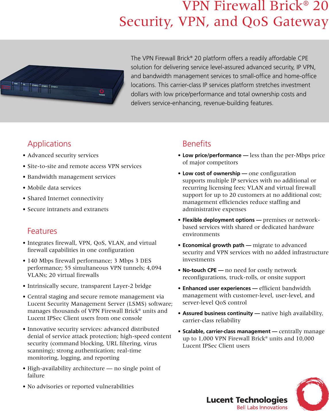 Lucent Technologies Vpn Firewall Brick 20 Users Manual