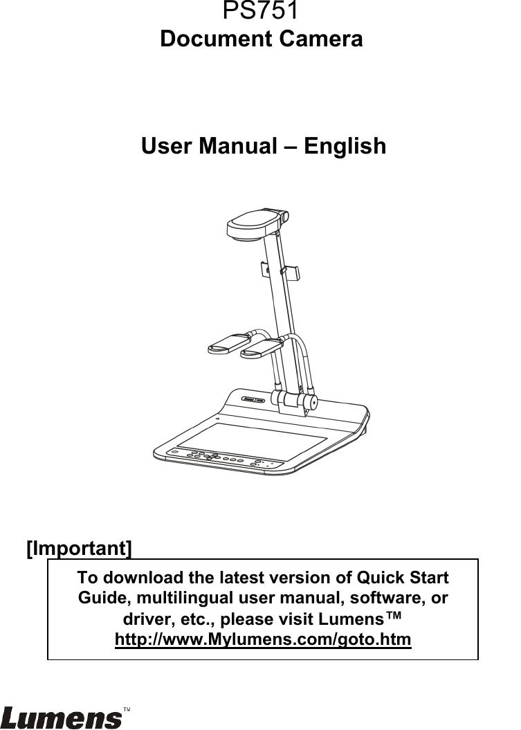 Lumens Technology Digital Camera Ps751 Users Manual Engilish