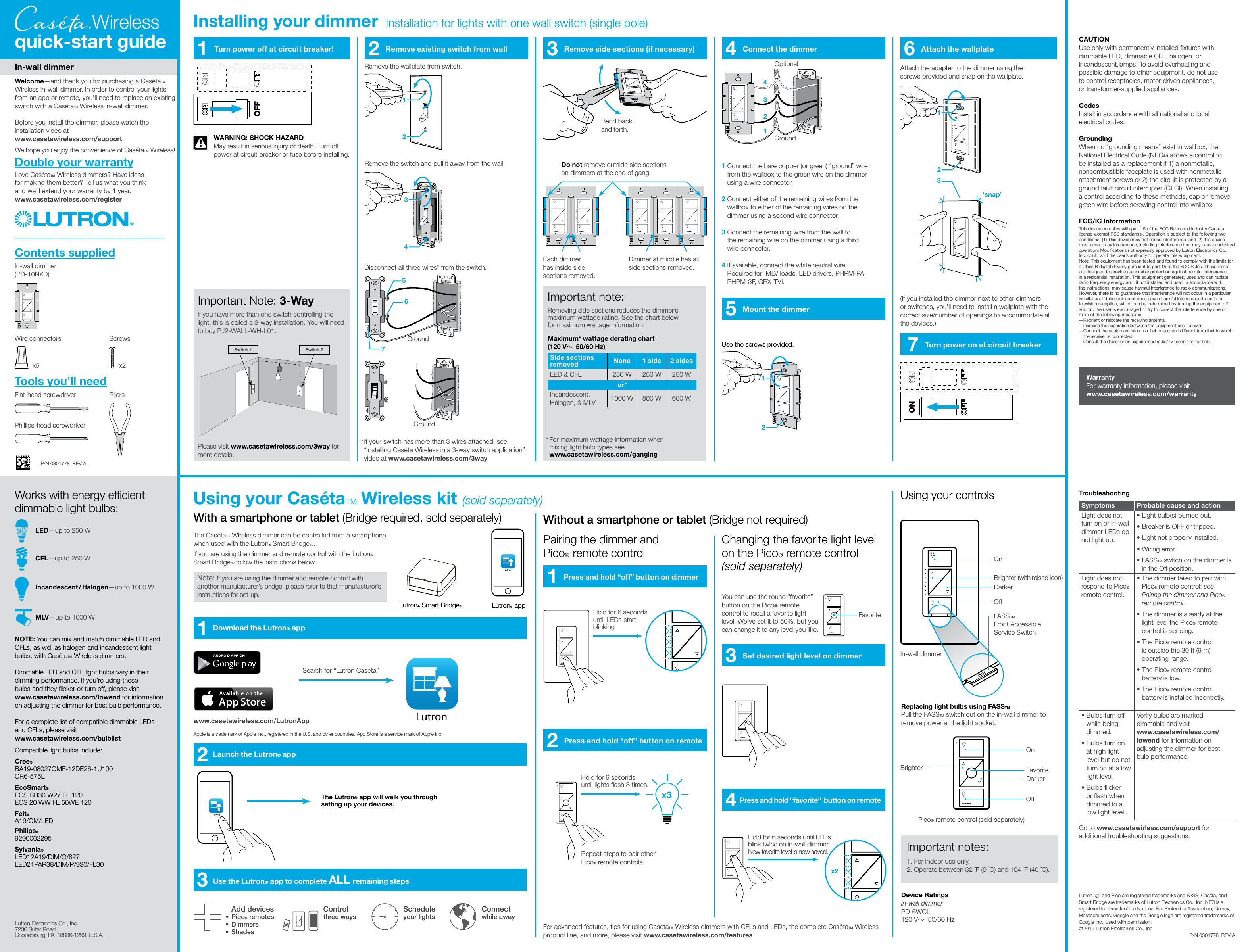 Lutron Electronics 0111 Wireless In Wall Dimmer Switch User Manual