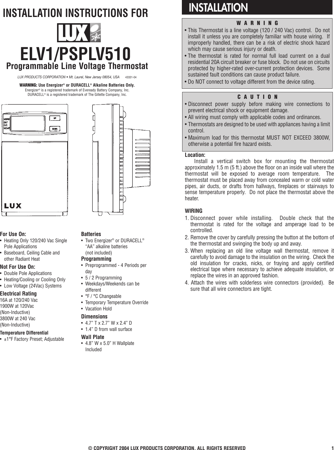 Lux Products Elv1 Discontinued Instruction Manual 120 Volt Baseboard Heater Thermostat Wiring Diagram For Single