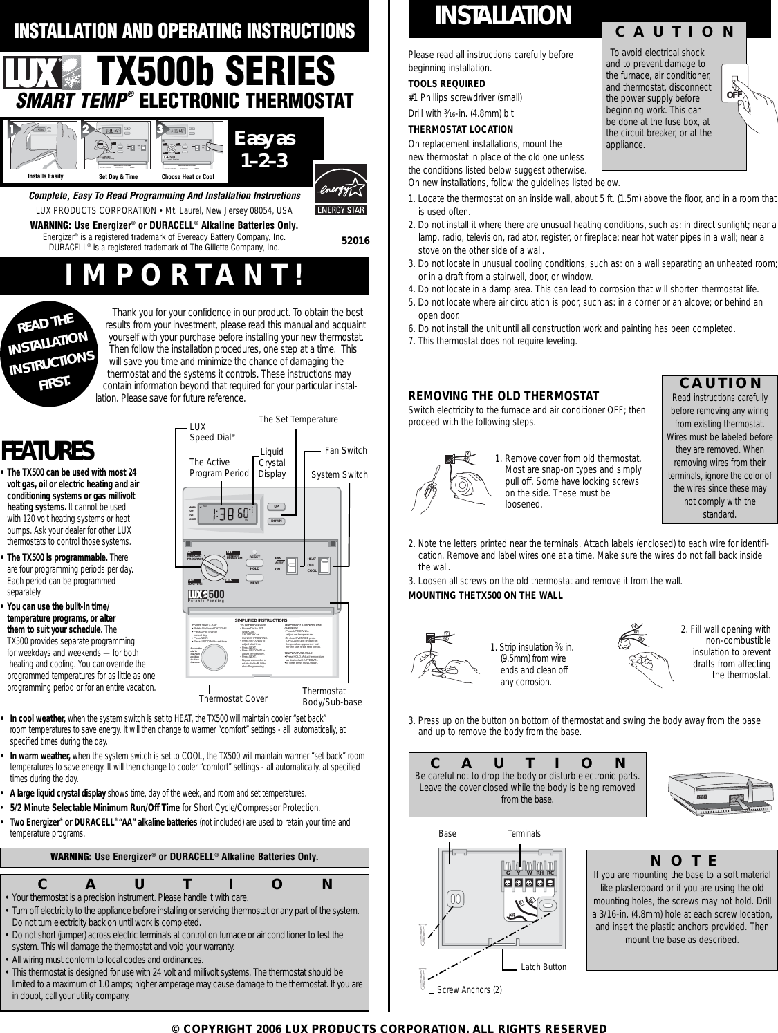 Lux Products Tx500 Discontinued Instruction Manual