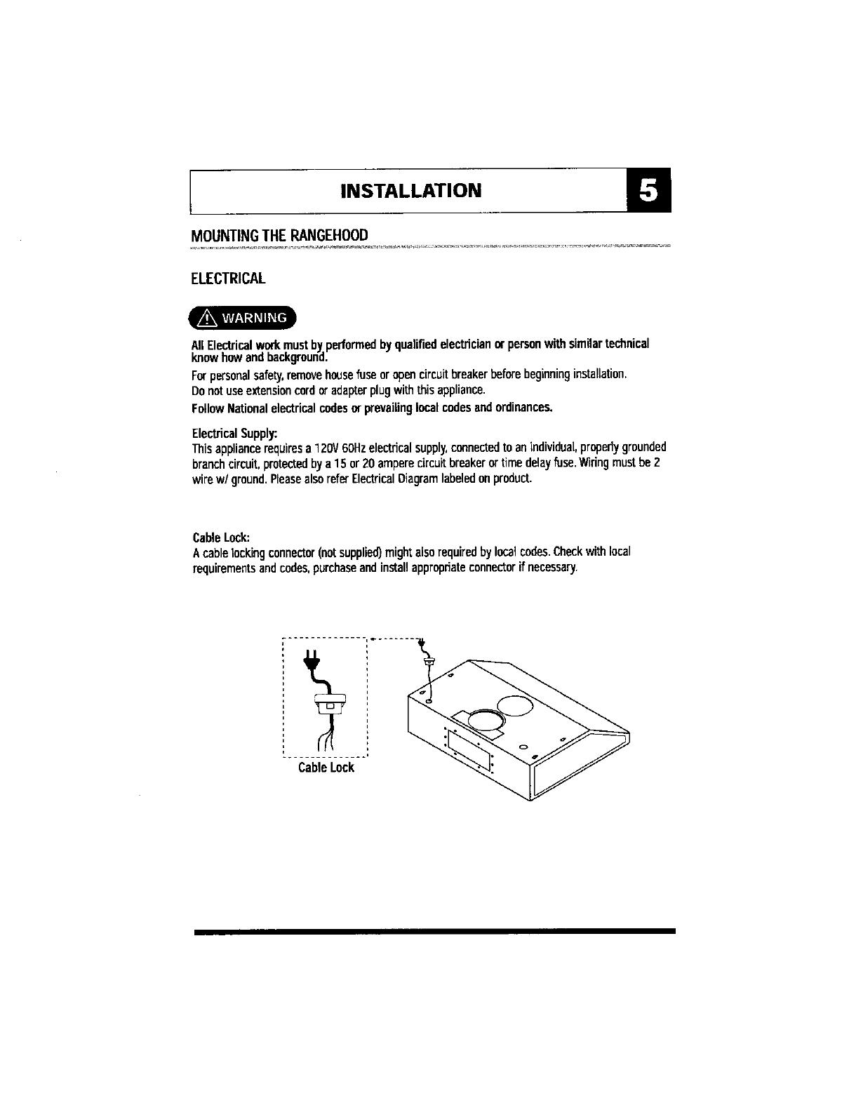 Maytag Range Hood Manual L0407192 House Wiring Open Circuit