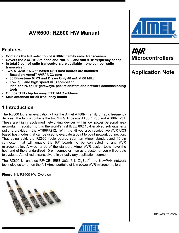 MICROCHIP TECHNOLOGY A09-0490 ATAVRRZ600 User Manual rz600