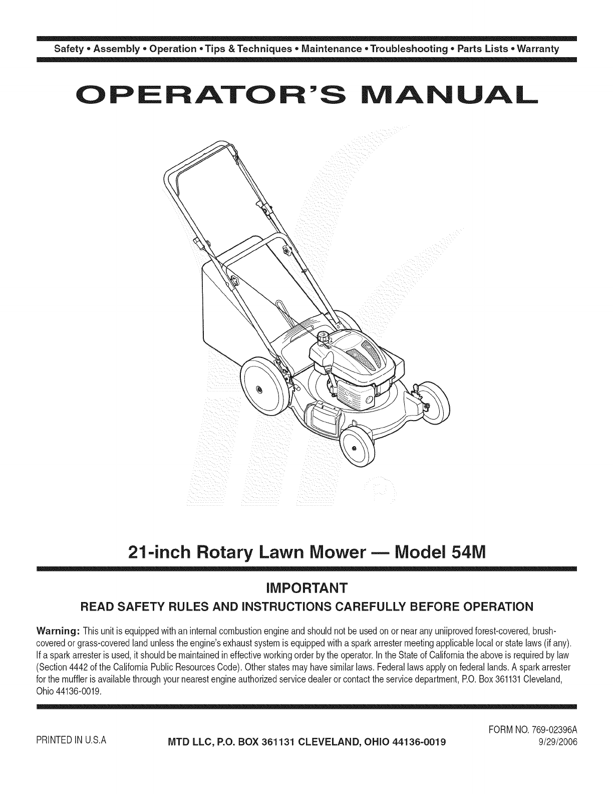 Mtd 11a 54mb055 User Manual Lawn Mower Manuals And Guides 1107424l Parts Diagram On List For Safety Assembly Operation Tips Techniques Maintenance Troubleshooting Lists Warranty Of Aoal 21inch Rotary