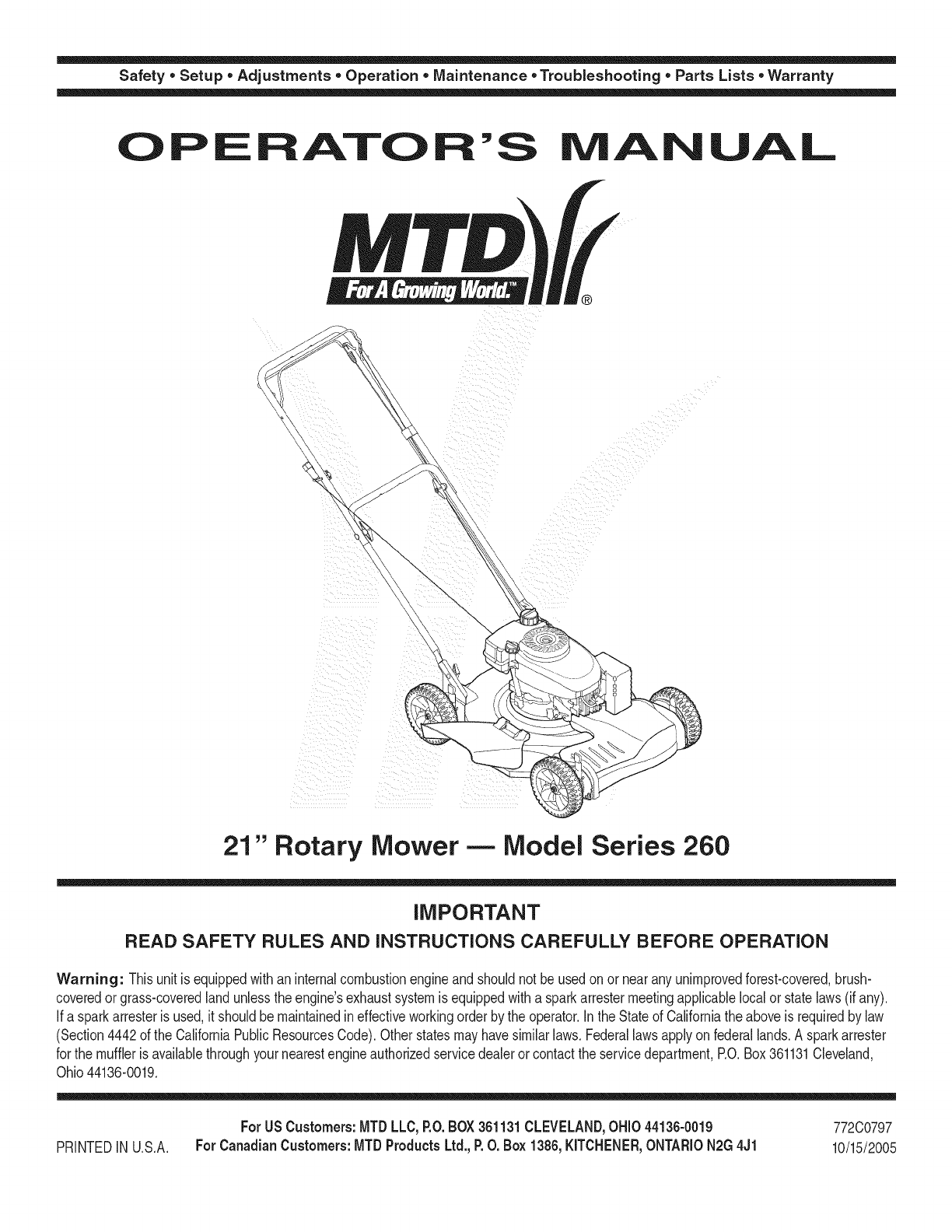 Mtd 12a 263f800 User Manual Lawn Mower Manuals And Guides 1109202l Parts Diagram On List For