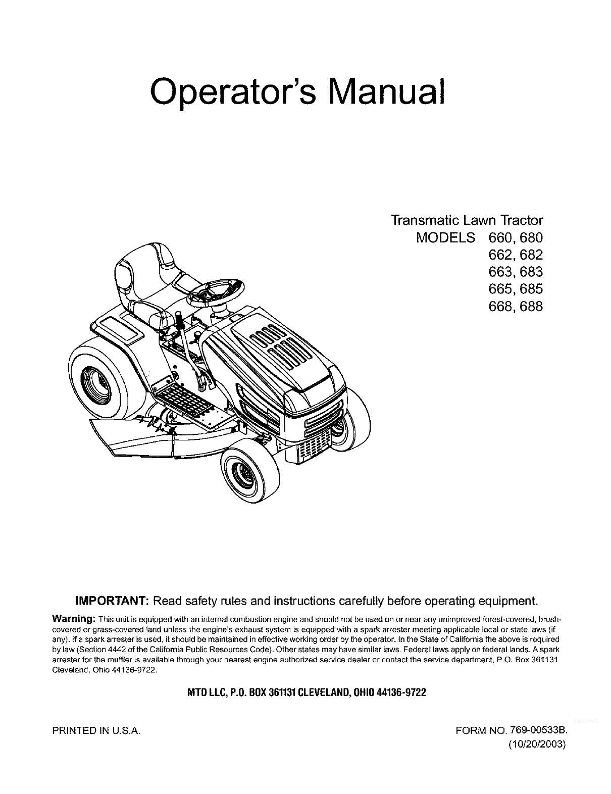 MTD 13A6673G118 User Manual LAWN TRACTOR Manuals And Guides L0404192