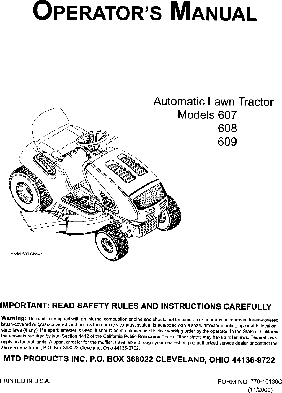 Mtd 13af608g062 User Manual Lawn Tractor Manuals And Guides L0403355