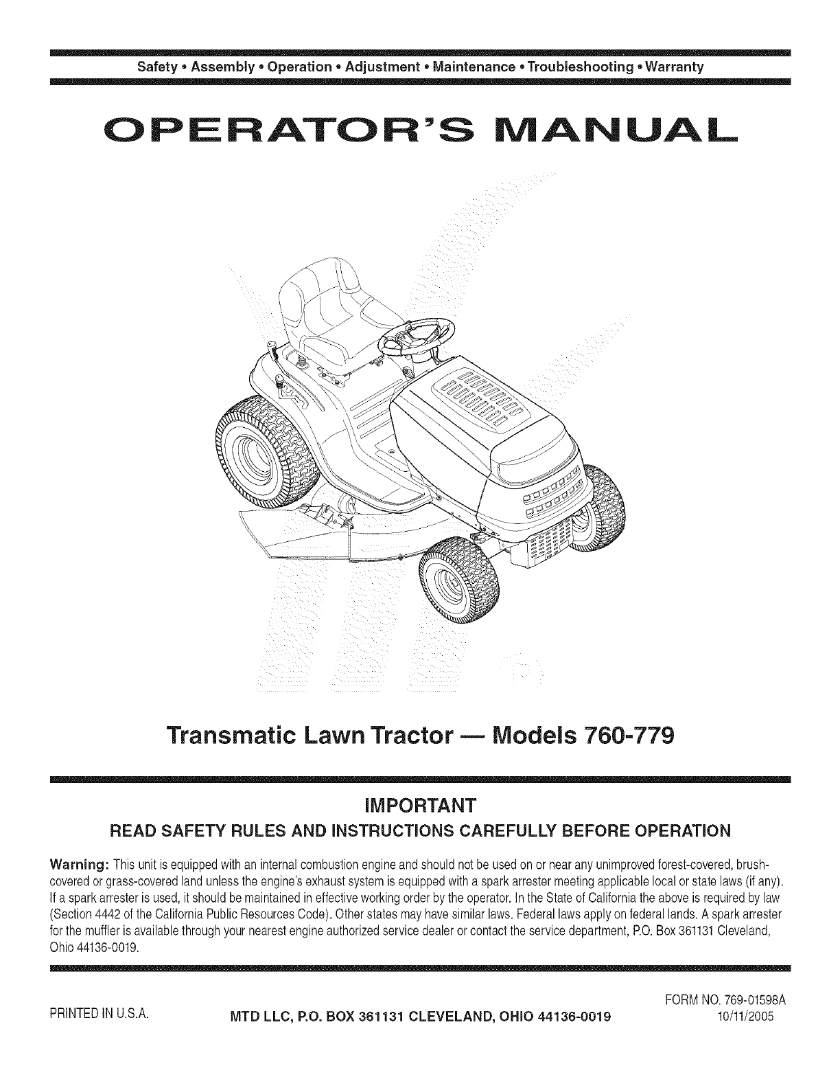 MTD 13AH762F752 User Manual LAWN TRACTOR Manuals And Guides
