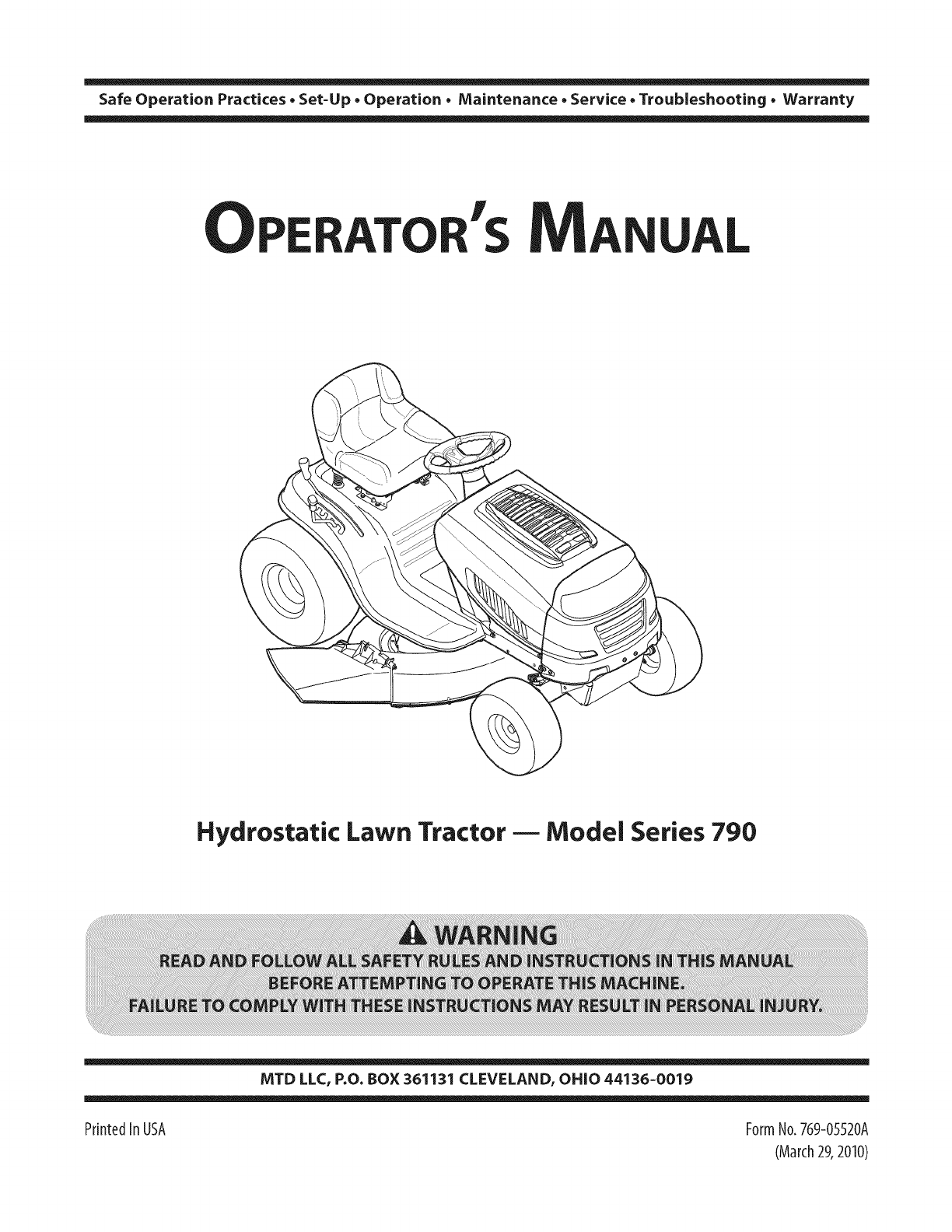 MTD 13AJ795S004 User Manual LAWN TRACTOR Manuals And Guides