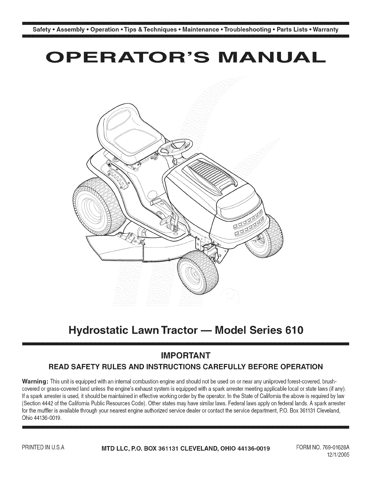 MTD 13AX615H730 User Manual TRACTOR Manuals And Guides 1109059L
