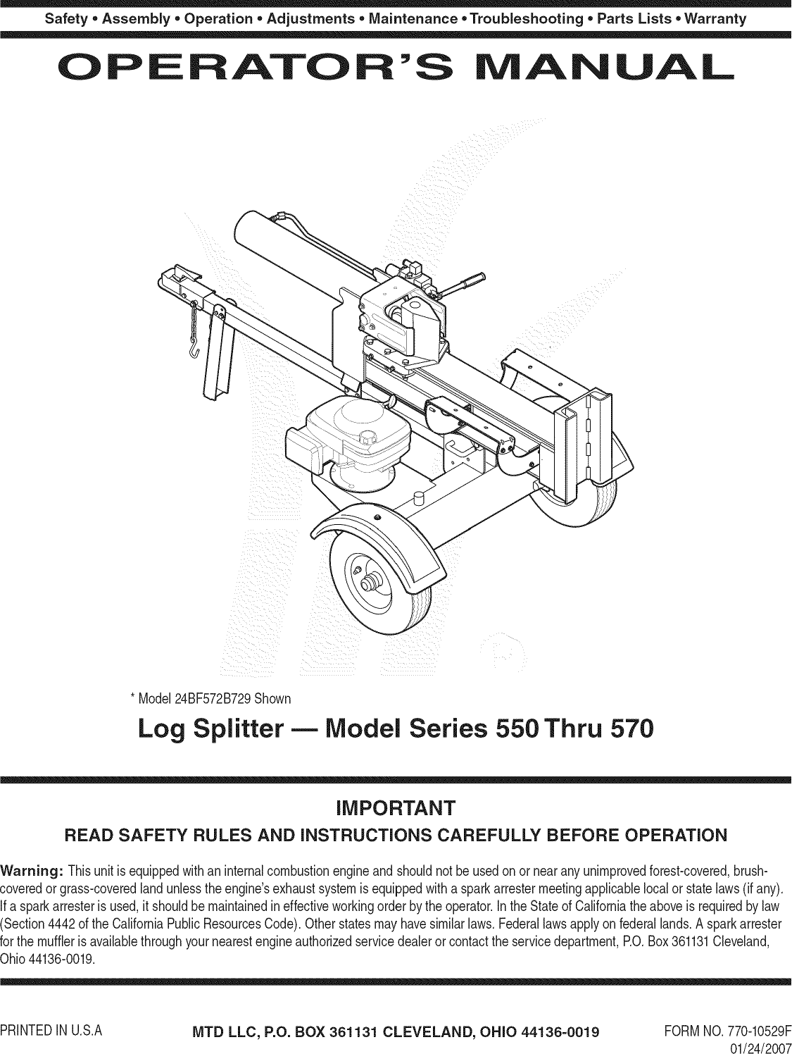 Array - mtd 24bf550c729 user manual log splitter manuals and guides  1108681l rh