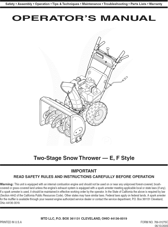 Snapper 5900768 Manual Guide