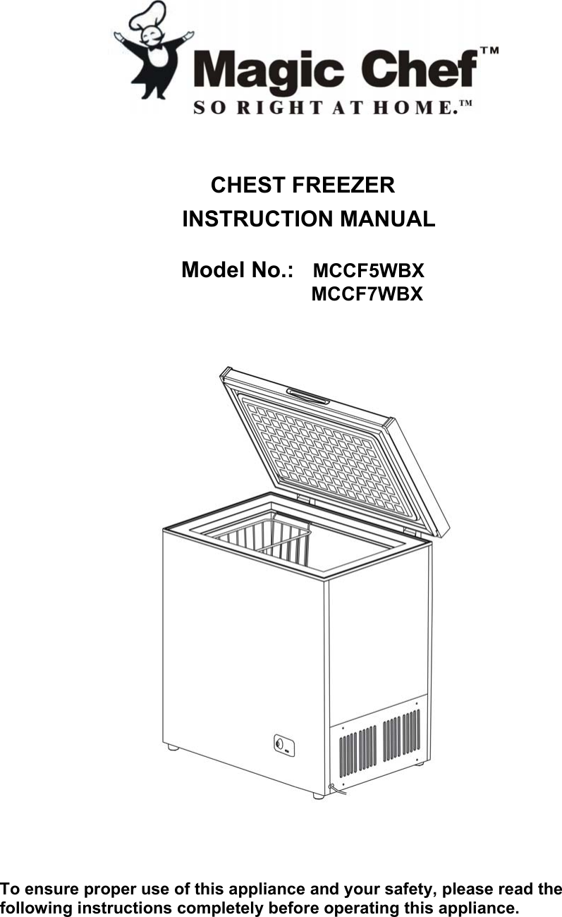Magic Chef Mccf7Wbx Owners Manual For Chest Freezer _English_ 4.30 on