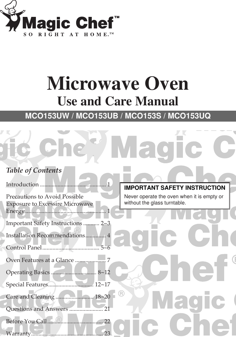 Magic Chef Mco153Uw Owners Manual MCO153UW/UB/S T 1H2U9A.. on