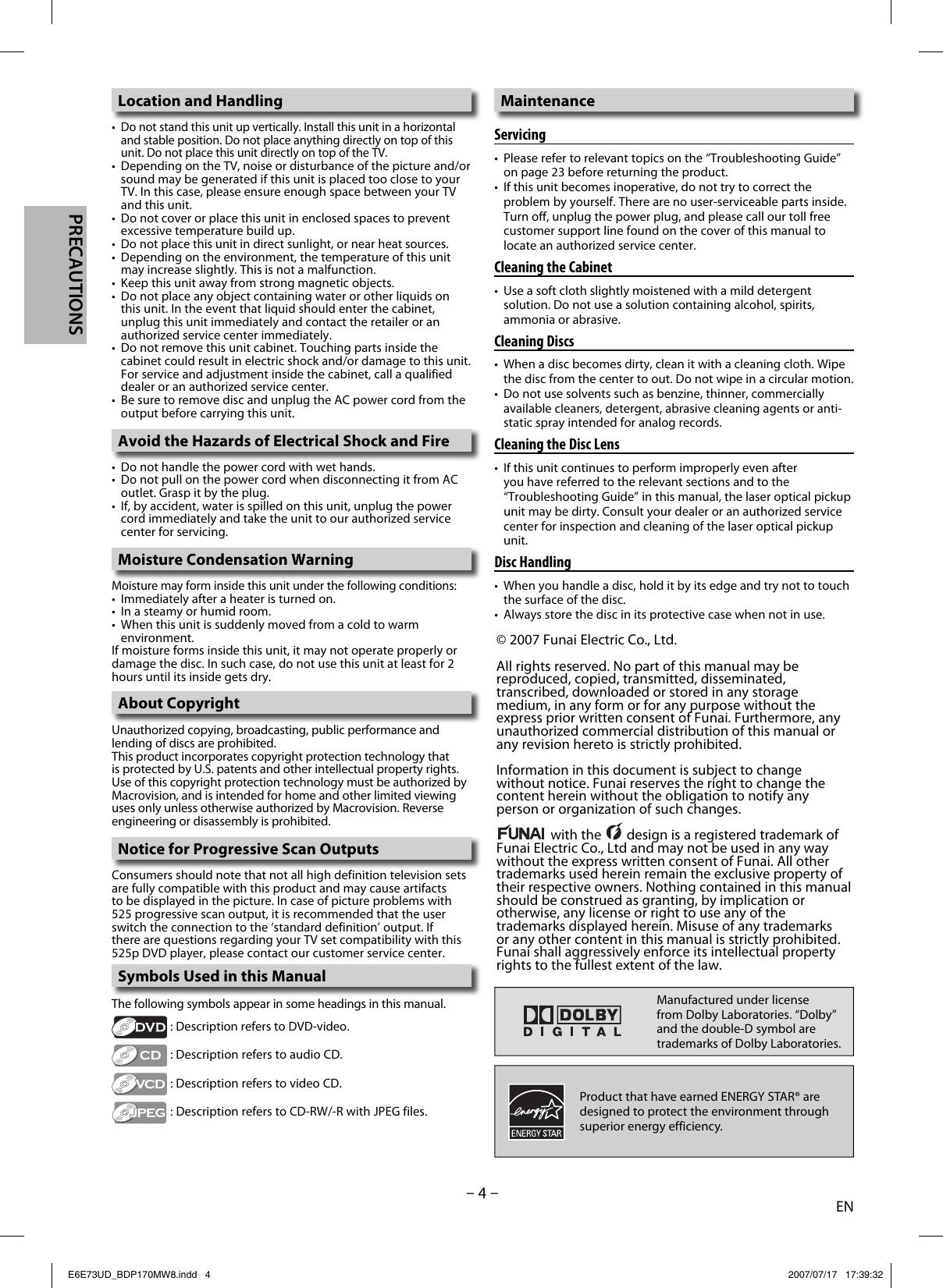 Magnavox Bdp170Mw8 Owners Manual E6E73UD_BDP170MW8