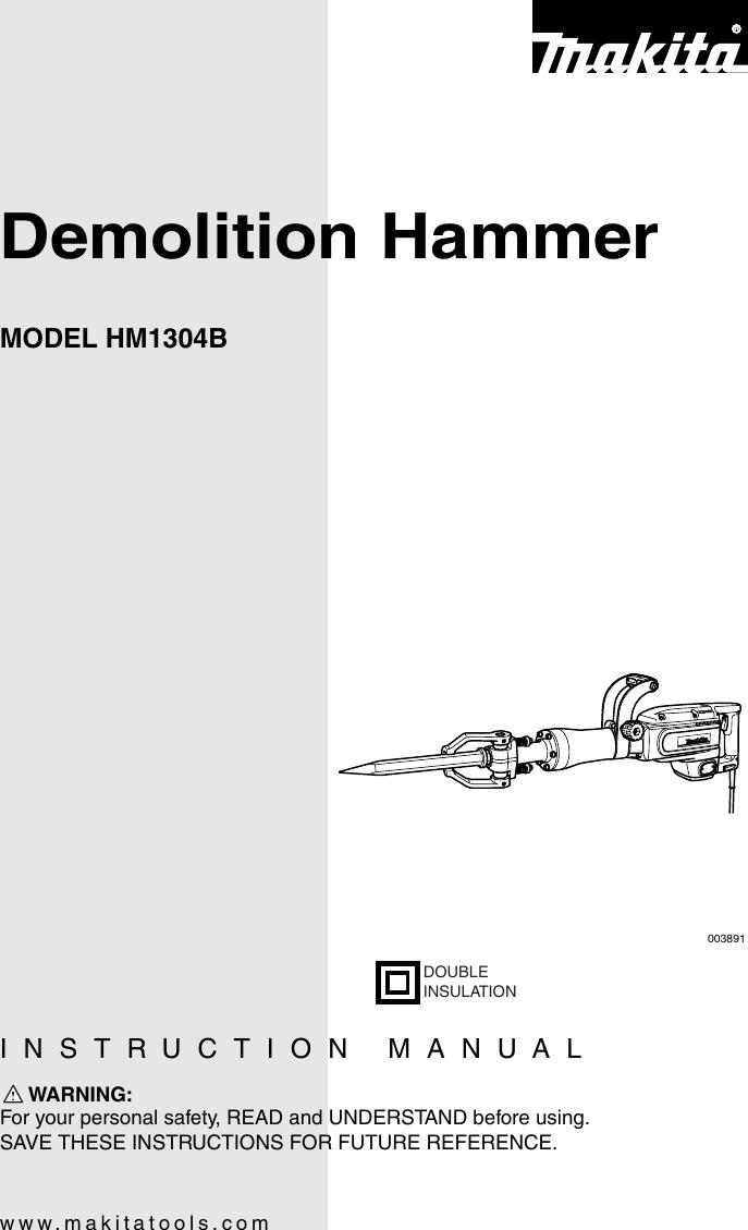 Makita Hm1304B Users Manual on