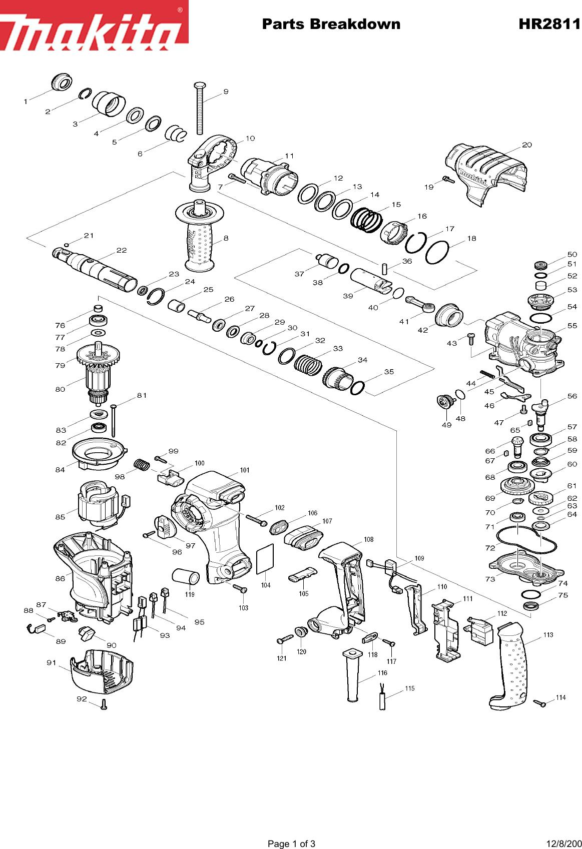Makita Hr2811F Users Manual on